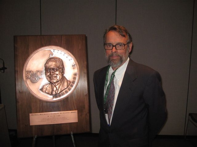 "Dr. Schlitt receiving the Milton E. Eadsworth Extractive Metallurgy Award at the 2010 SME Annual Meeting in Phoenix, AZ.  The award caption reads ""for his contributions that have advanced the science and technology of heap and dump leaching."""